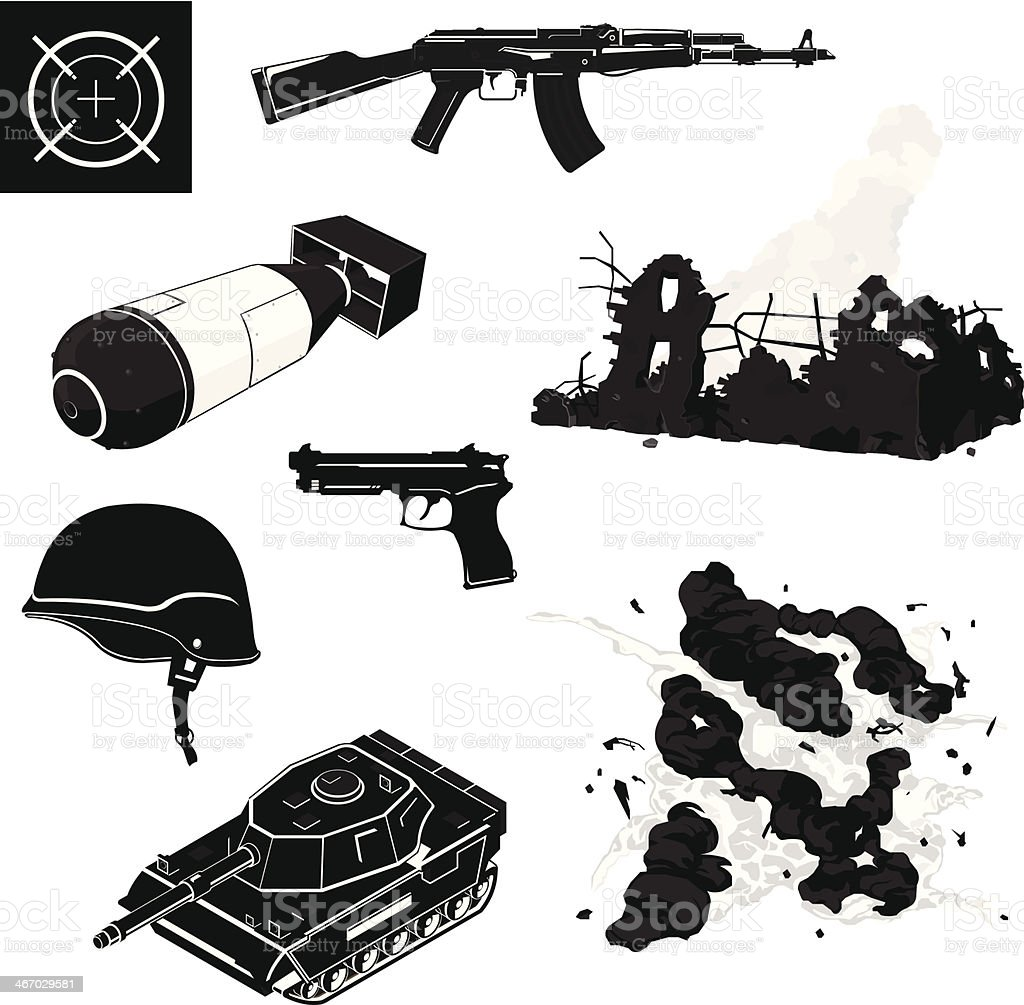 War Icon Set vector art illustration
