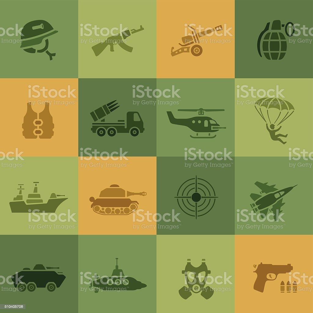 War Icons vector art illustration