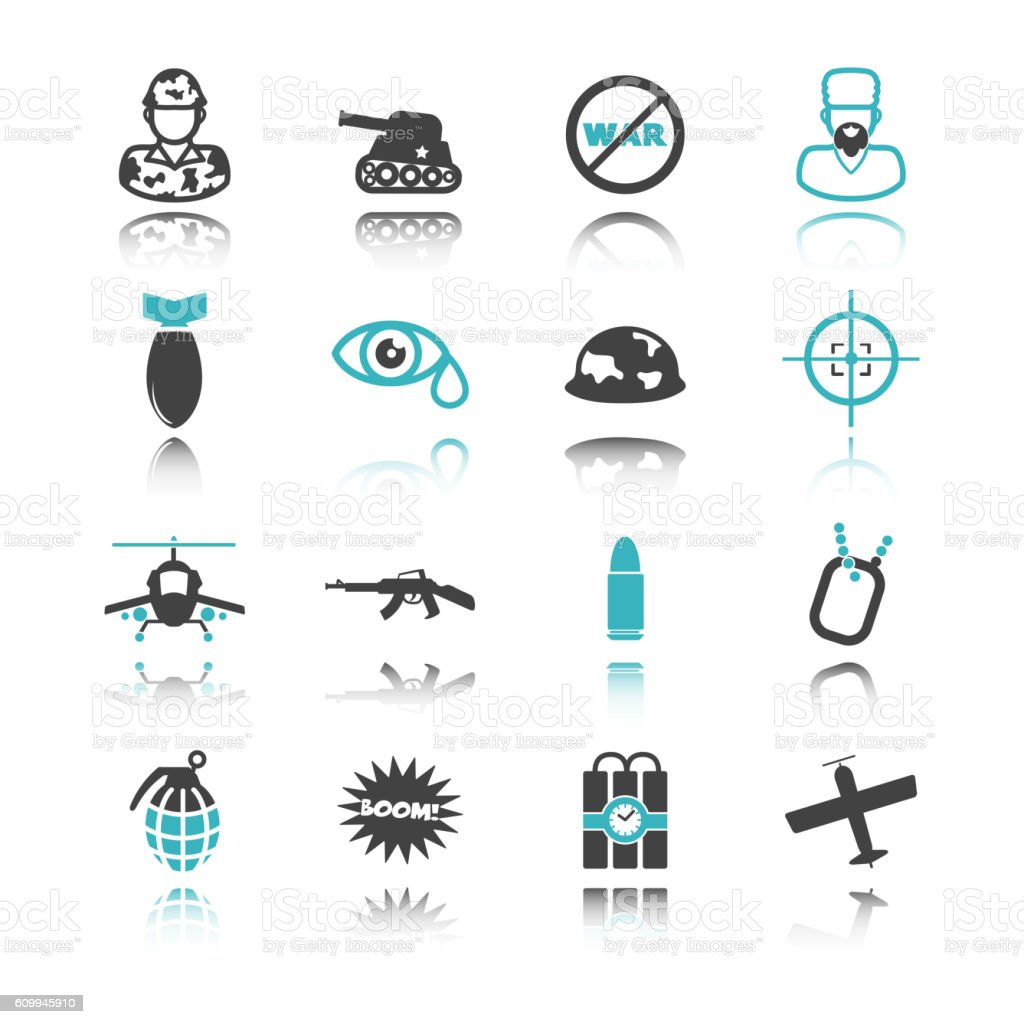war icons with reflection vector art illustration