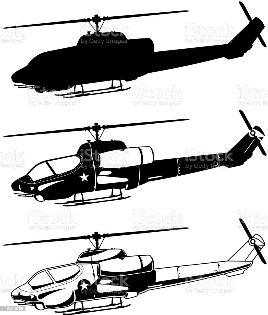 War military Helicopter Icons vector art illustration