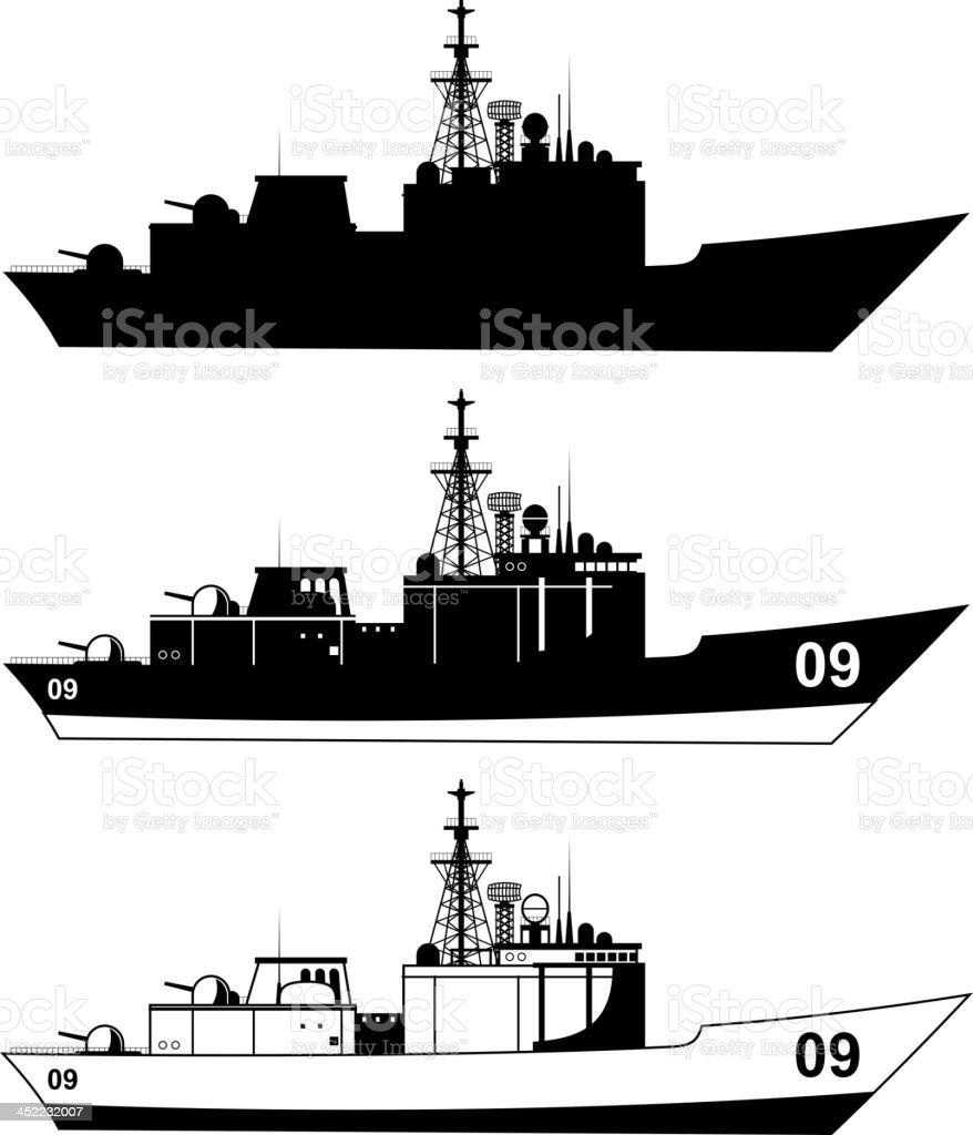 War Military Ship vector art illustration