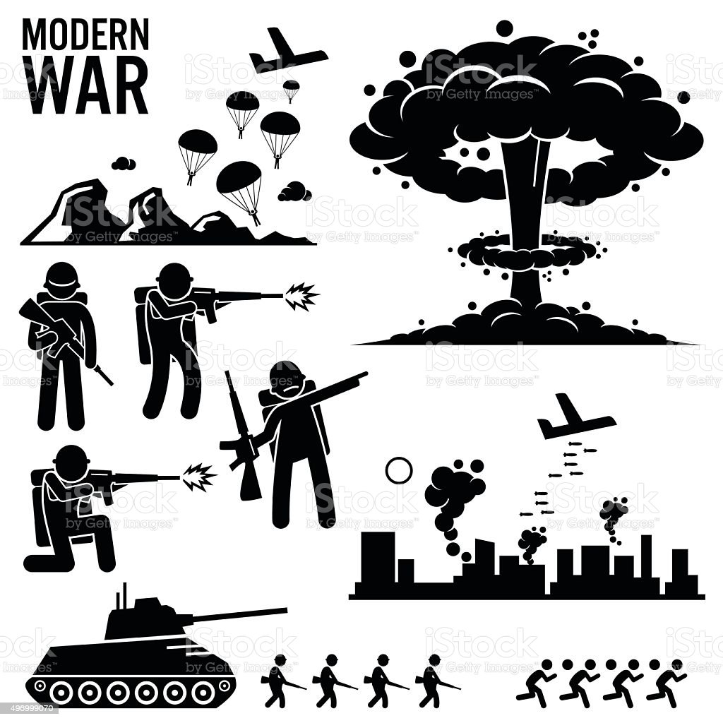 War Modern Warfare Nuclear Bomb Soldier Tank Attack Cliparts vector art illustration