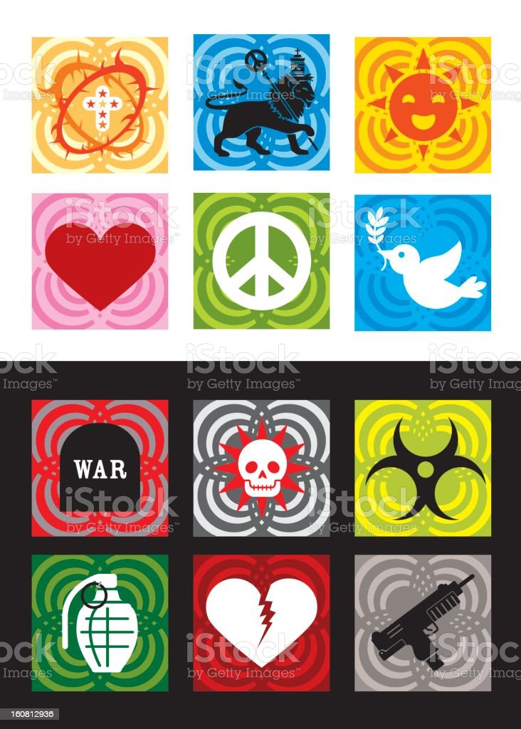 War & Peace Icons royalty-free stock vector art