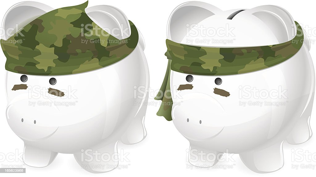 War! Piggy bank soldier wearing camouflage bandana in two styles royalty-free stock vector art