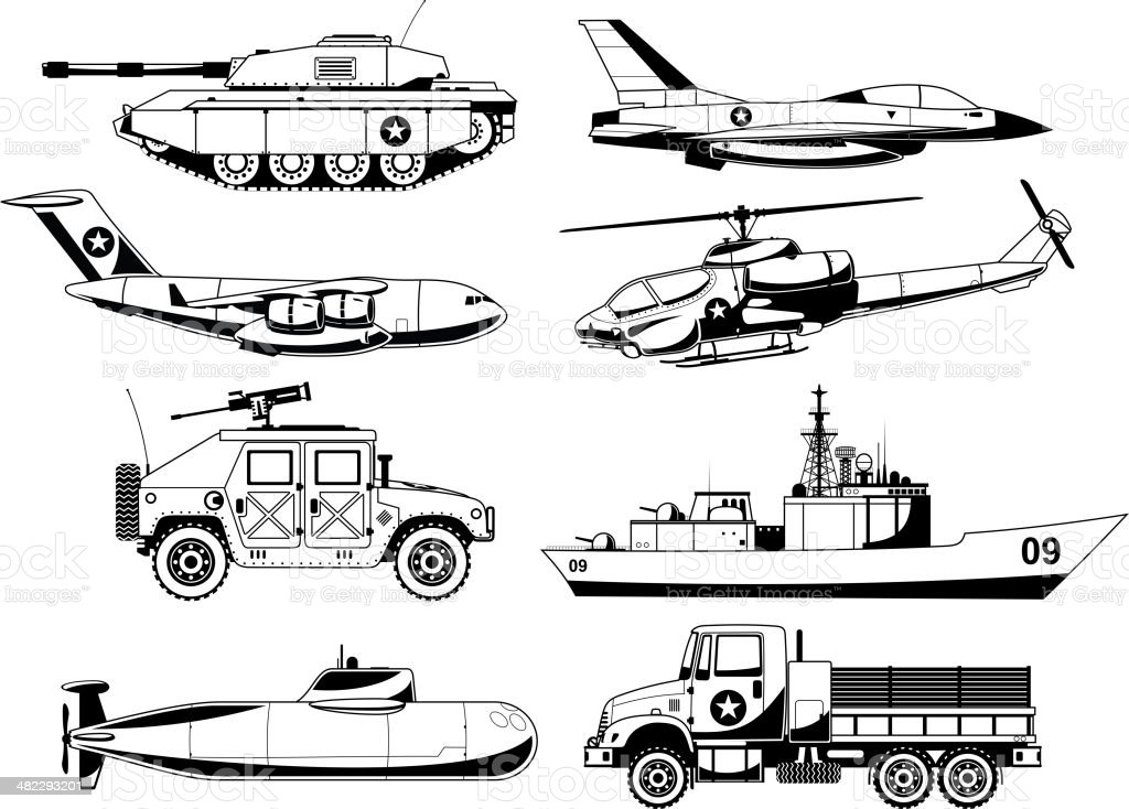 War Vehicles Black & White Set vector art illustration