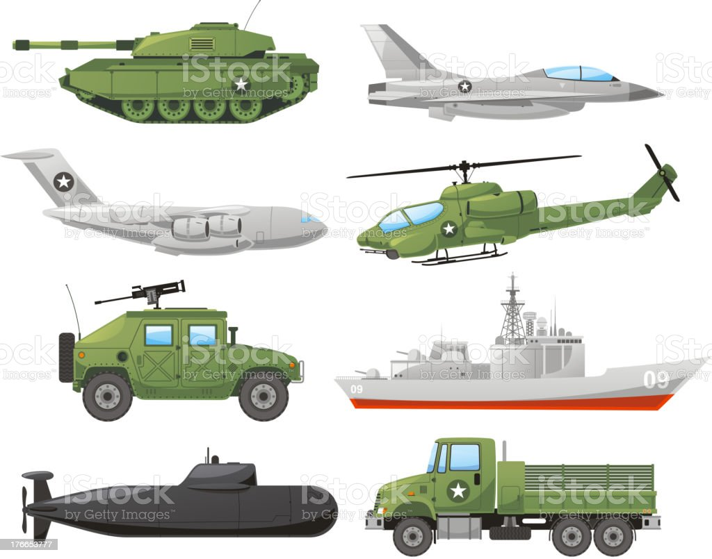 War Vehicles vector art illustration