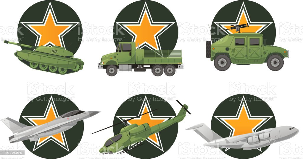 War Vehicles with star shape royalty-free stock vector art