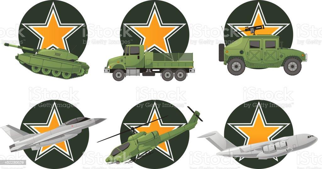 War Vehicles with star shape vector art illustration