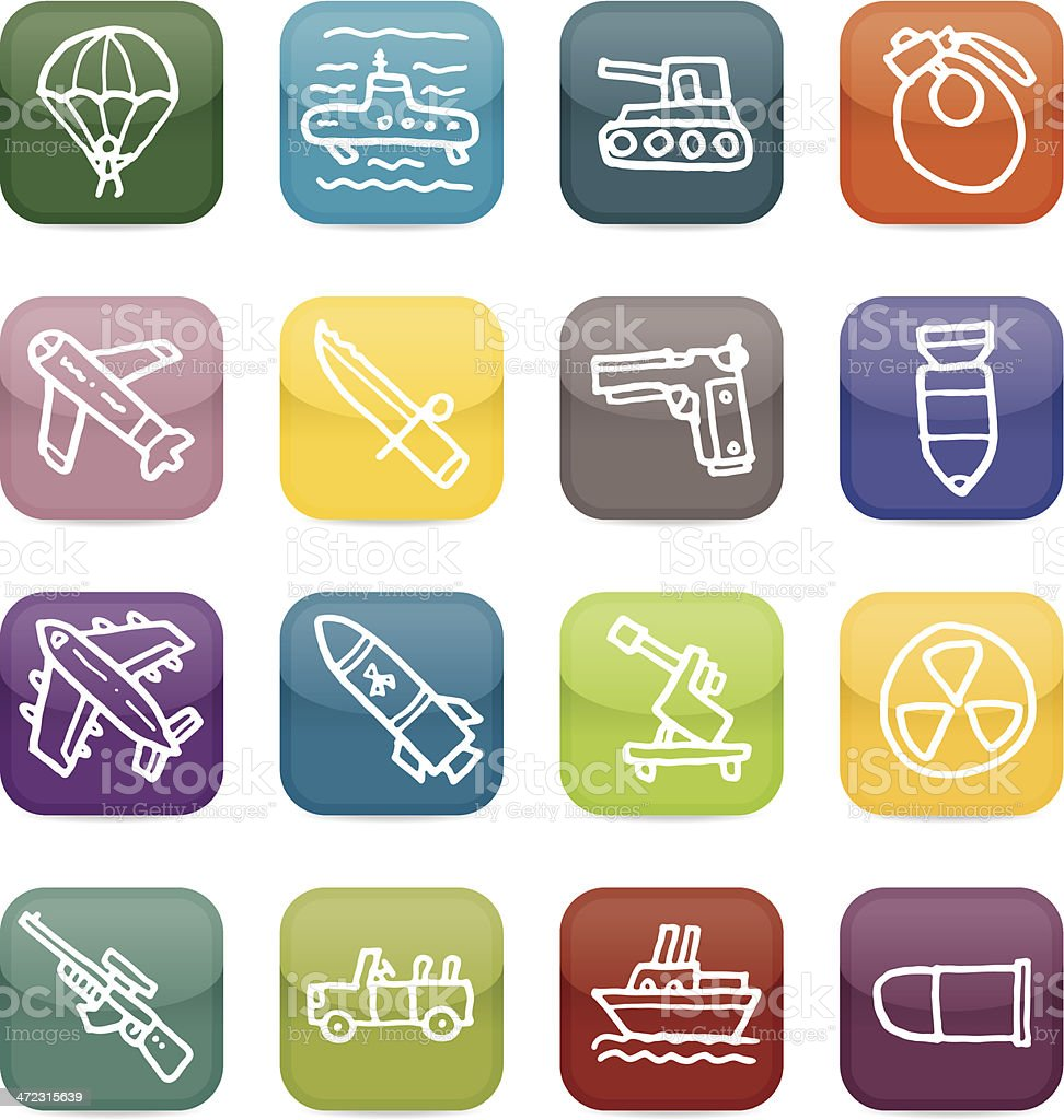 War weapons and armament icon blocks royalty-free stock vector art