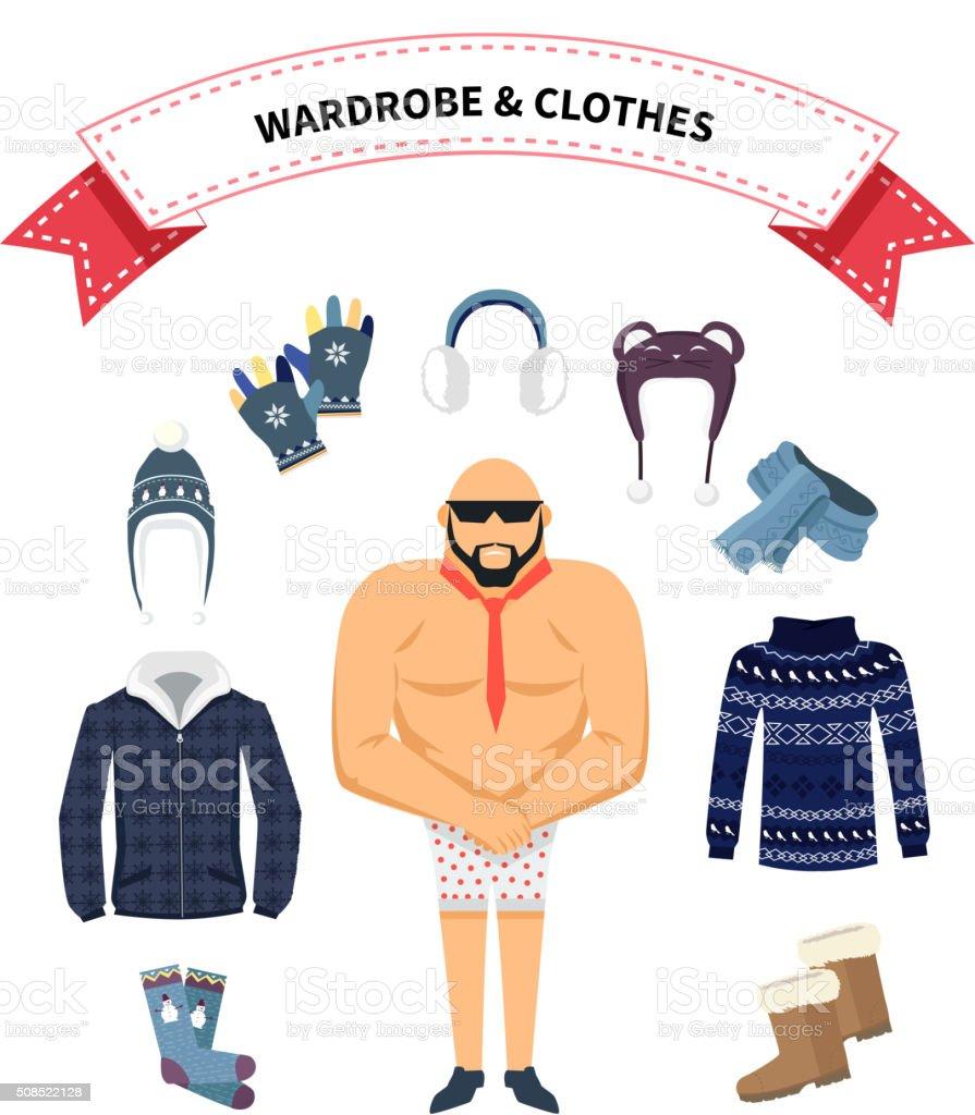 Wardrobe and Clothes vector art illustration