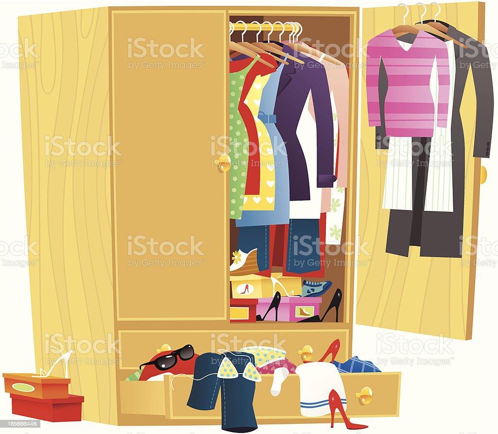Wardrobe cupboard with clothing vector art illustration