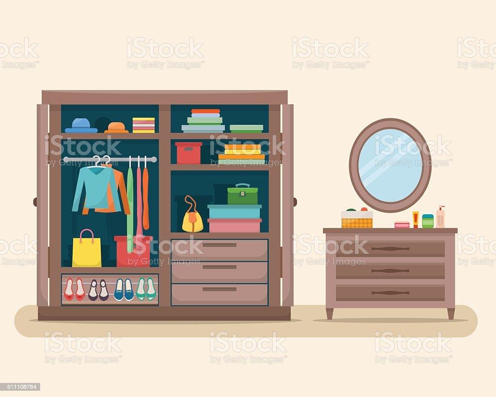 Wardrobe for cloths vector art illustration
