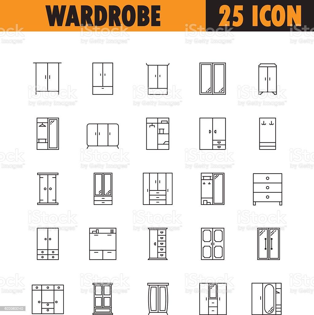 Wardrobe line icon set. vector art illustration