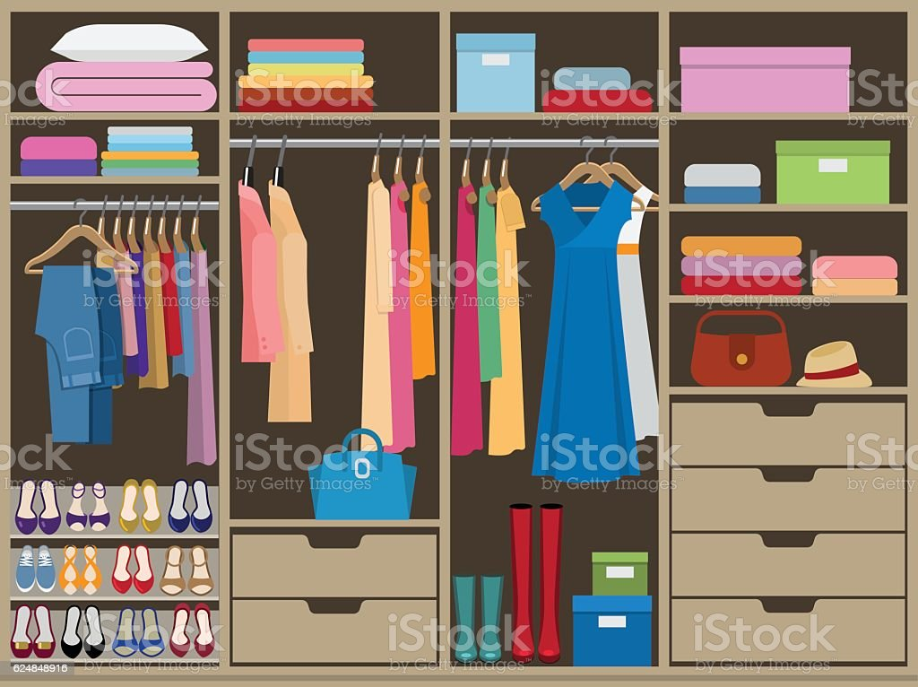 Wardrobe room full of woman's cloths. Flat style vector vector art illustration