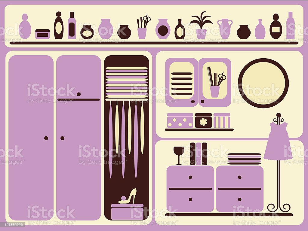Wardrobe room interior. vector art illustration