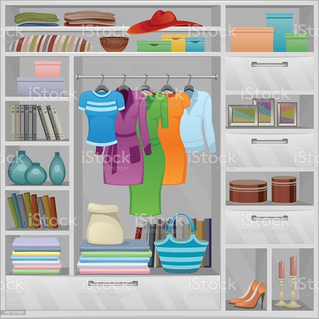 Wardrobe vector art illustration