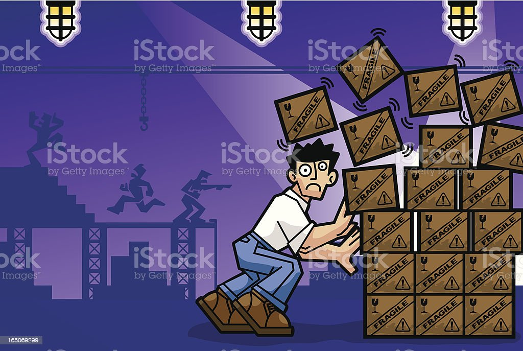 Warehouse Accident royalty-free stock vector art