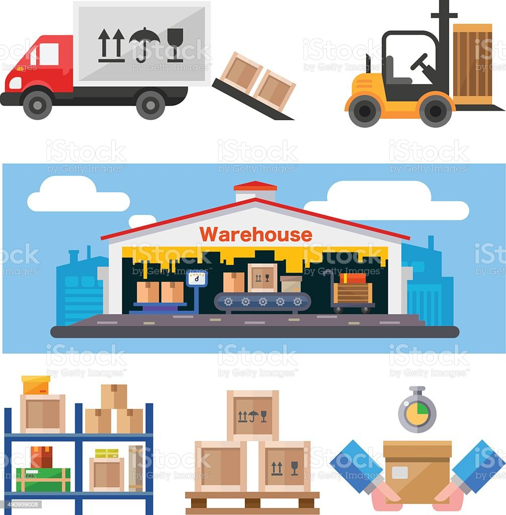 Warehouse and all the stuff. vector art illustration
