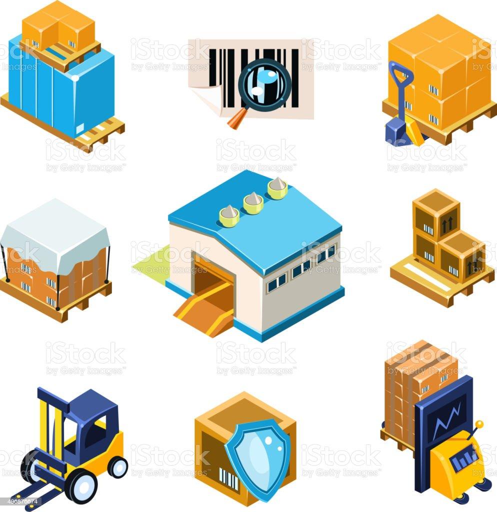 Log stica y almac n equipo conjunto de iconos ilustraci n for Almacen de derecho