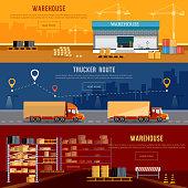 Warehouse banner, cargo transportation, warehouse interior