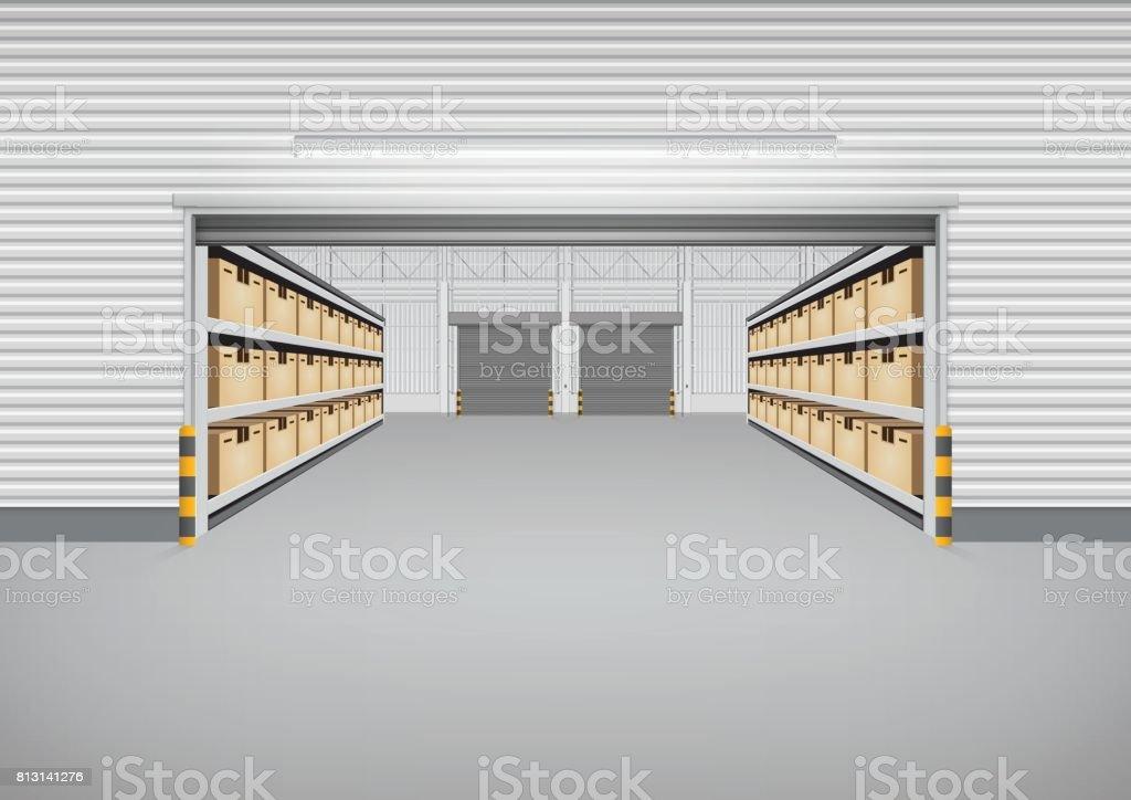 Warehouse Building Background vector art illustration