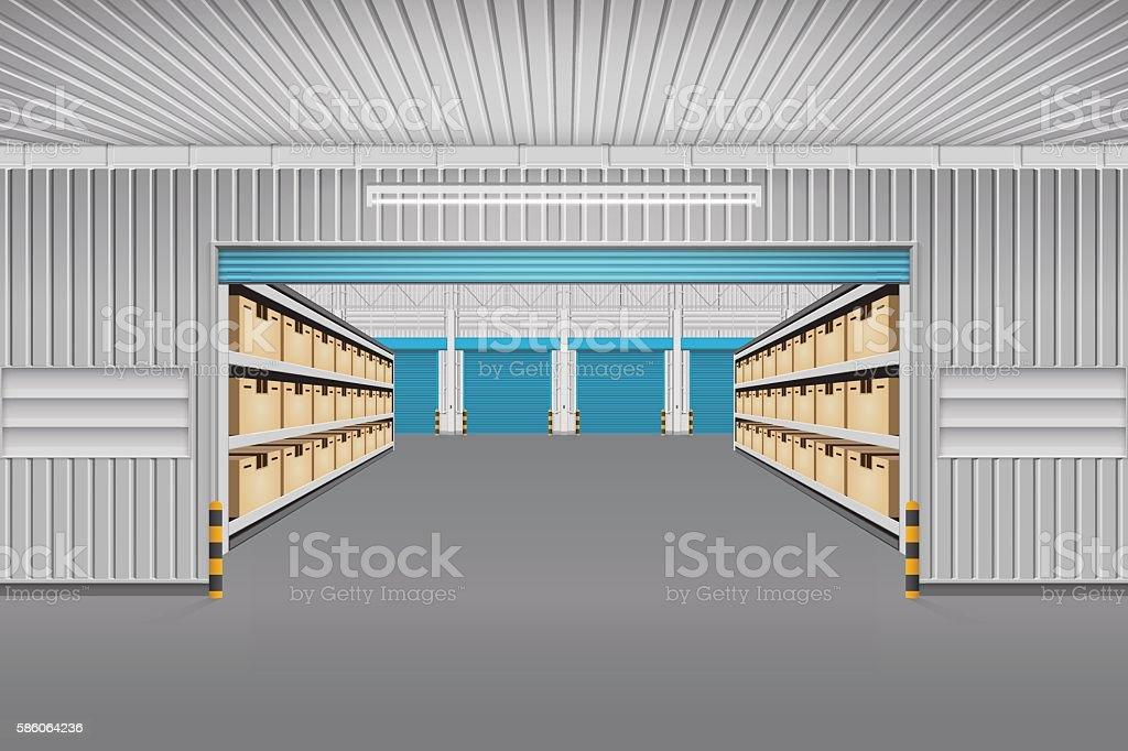 Warehouse building vector vector art illustration