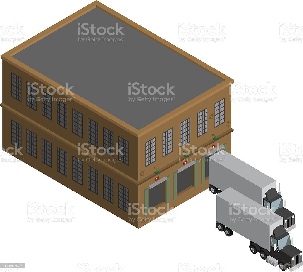 Warehouse Building with Trucks royalty-free stock vector art