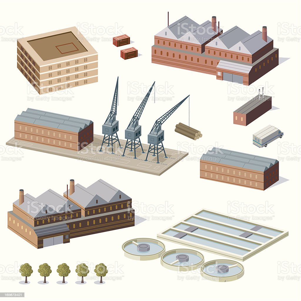 Warehouse buildings and water treatment plant royalty-free stock vector art