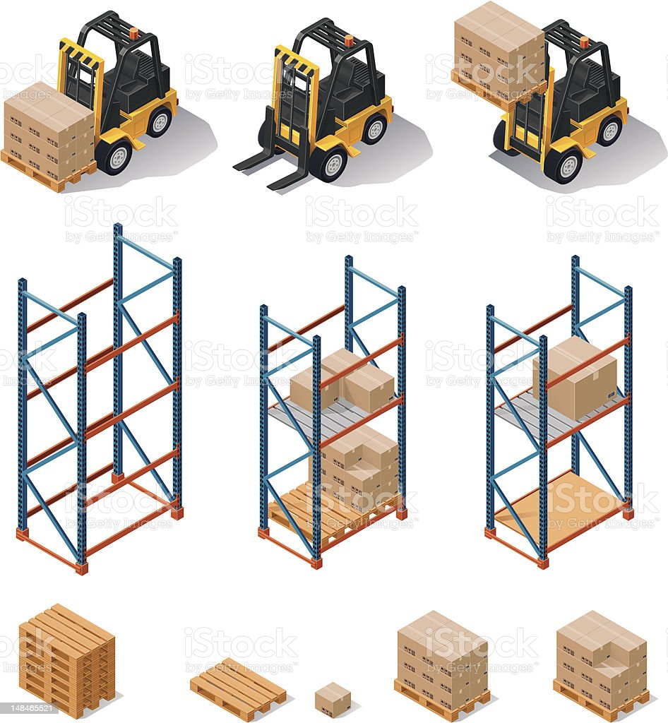 Warehouse equipment icon set vector art illustration