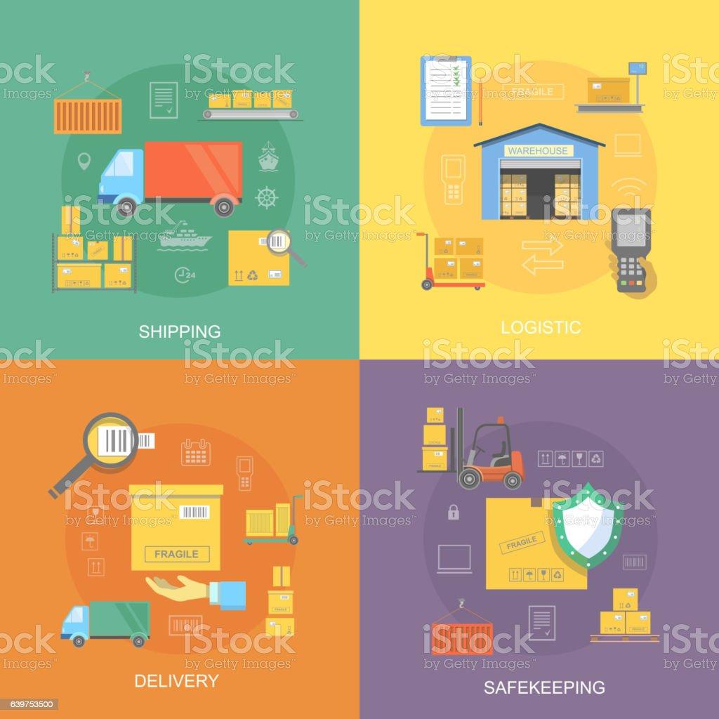 Warehouse flat set of logistics service, safekeeping, quality delivery, vector art illustration