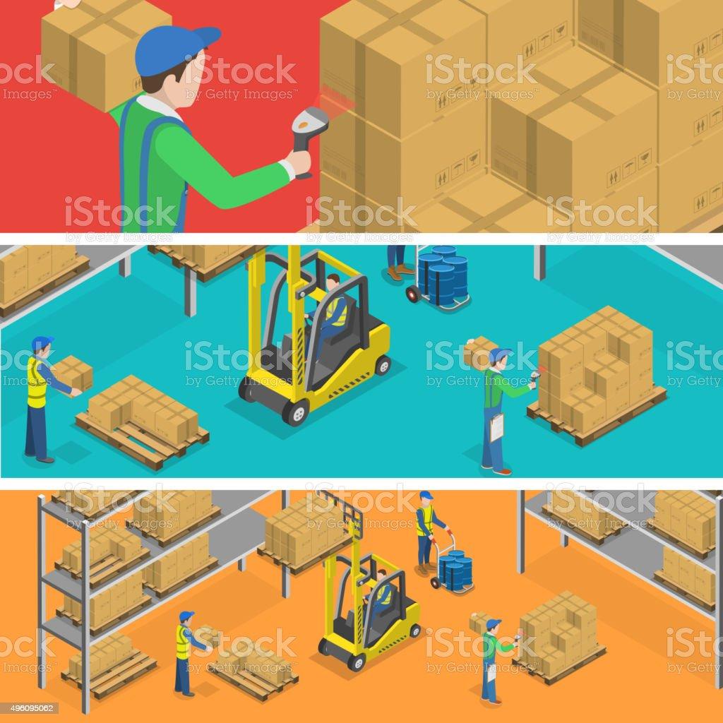 Warehouse isometric flat vector illustration. vector art illustration