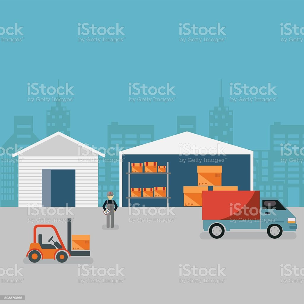 Warehouse. Loading and unloading from warehouse. vector art illustration