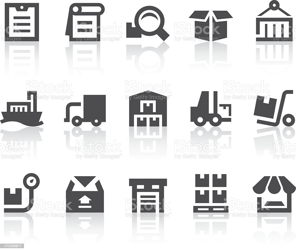 Warehouse Management Icons | Simple Black Series vector art illustration