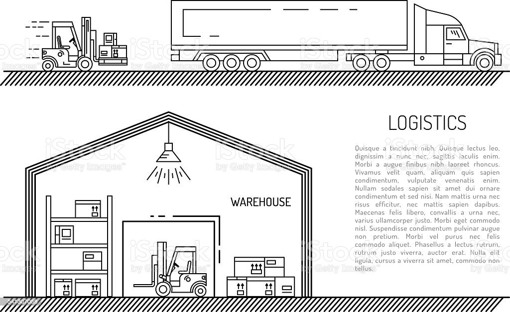 warehouse outline style vector art illustration