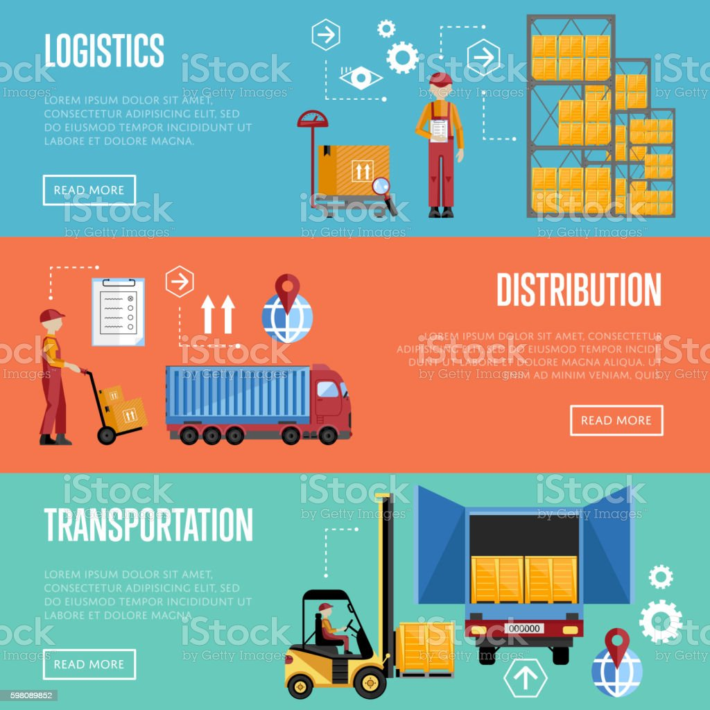 Warehouse process infographics banners. vector art illustration