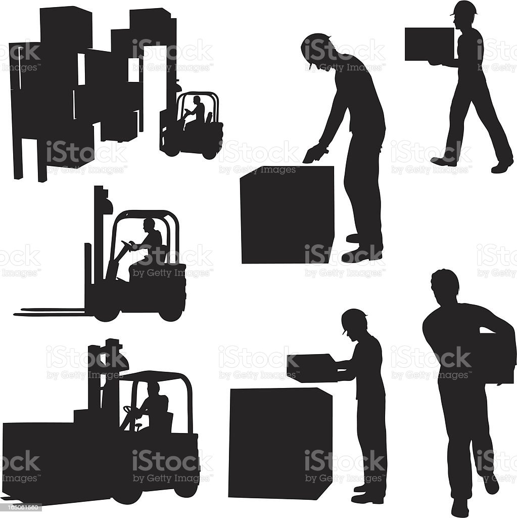 Warehouse Silhouette Collection (vector+jpg) vector art illustration