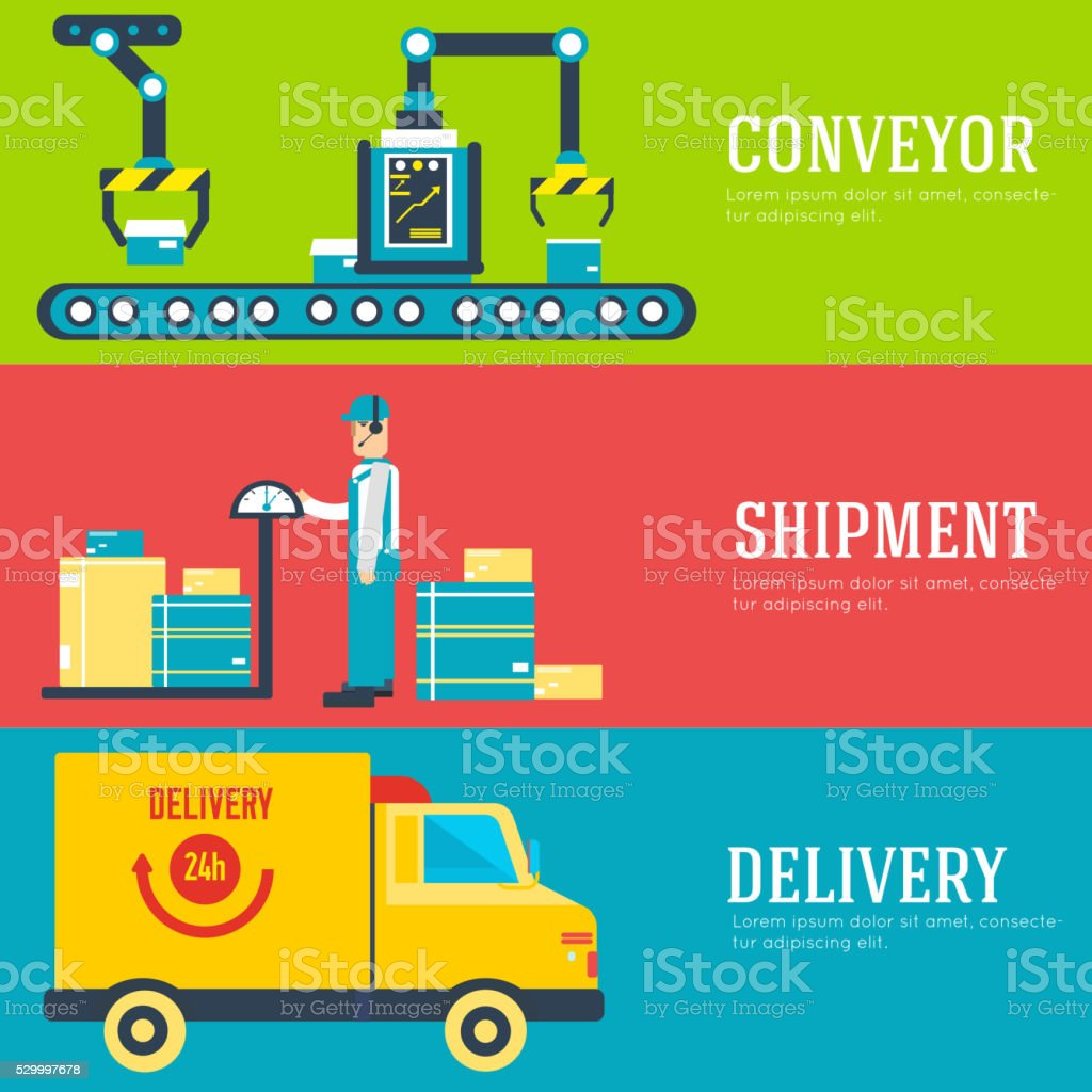 Warehouse staff puts cargoes, box, package and parcels banners vector art illustration