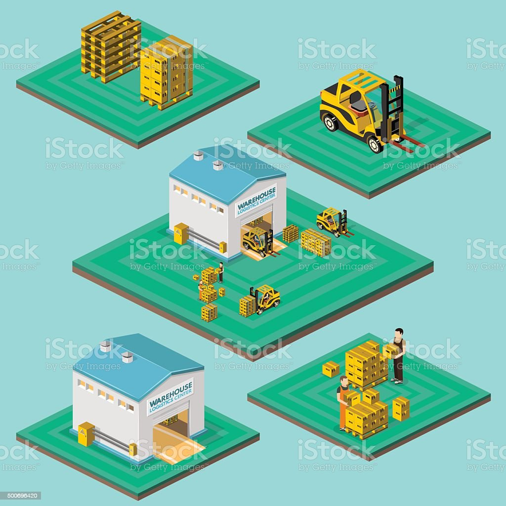 Warehouse vector illustration in the form of an isometric view vector art illustration