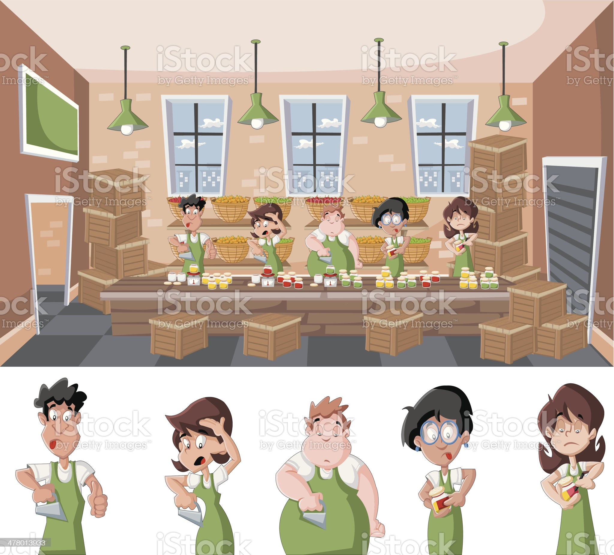 warehouse with people working royalty-free stock vector art