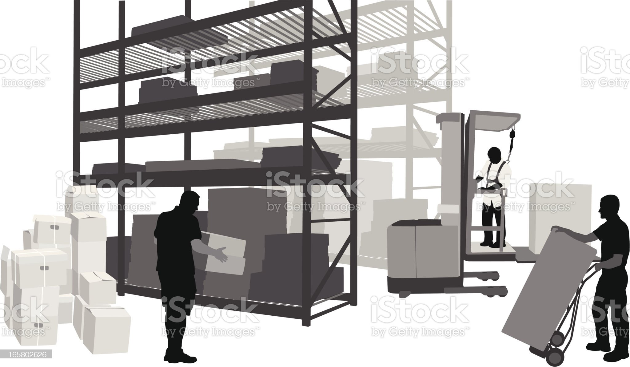 Warehouse Work Vector Silhouette royalty-free stock vector art