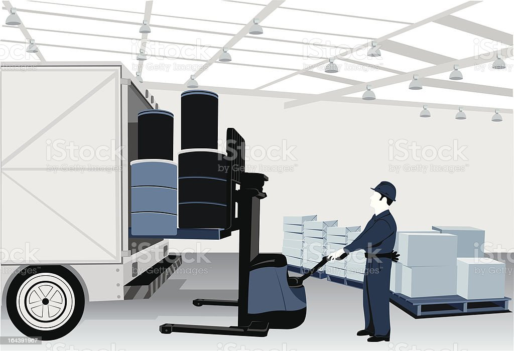Warehouse worker and fork lifter vector art illustration