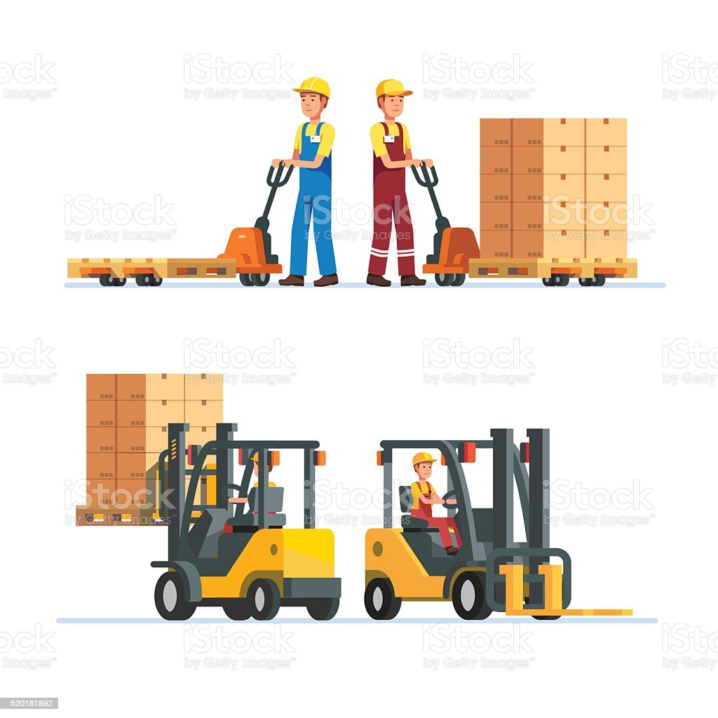Warehouse workers working with forklifts vector art illustration