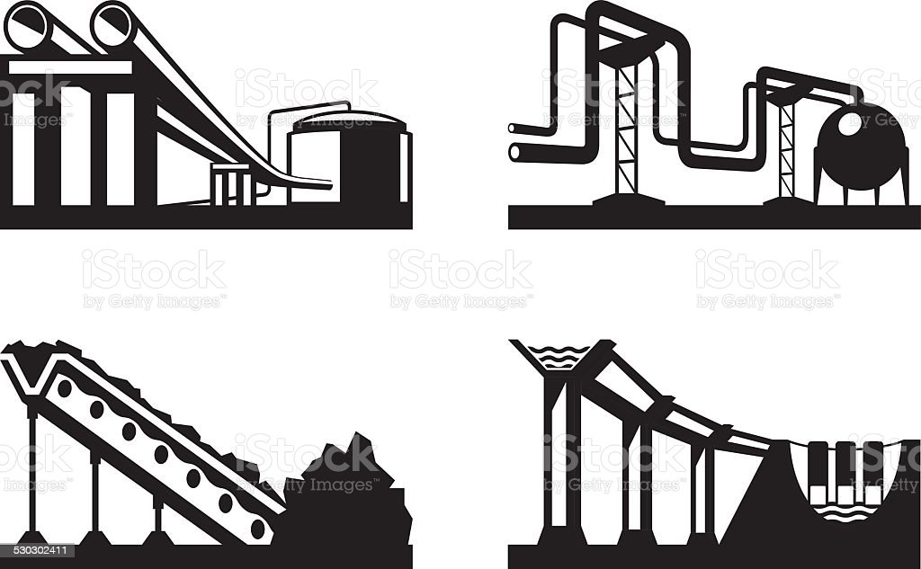 Warehouses for natural resources vector art illustration