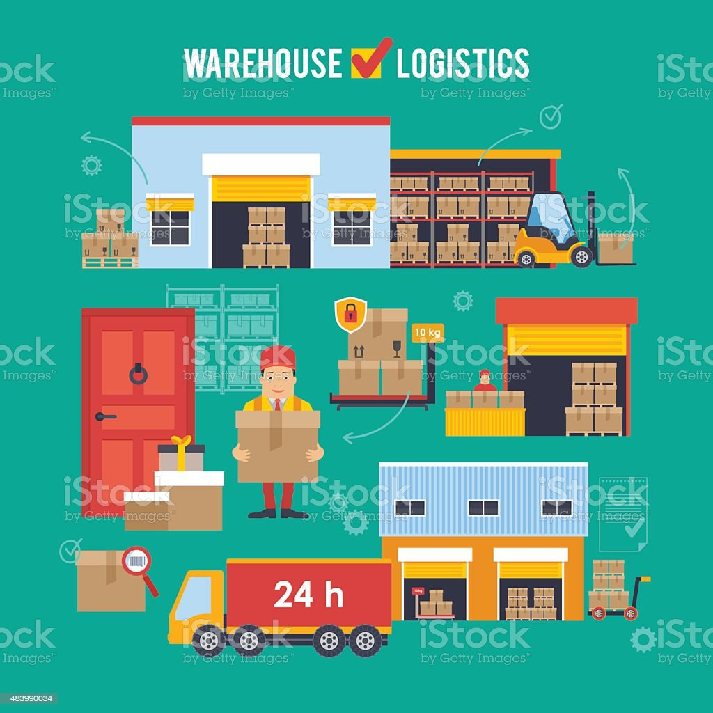 Warehousing and Logistic and Delivery vector illustration vector art illustration