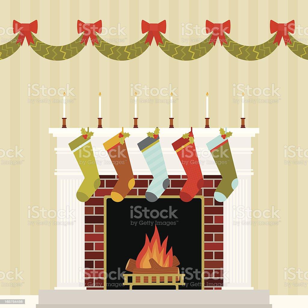 Warm and Festive Christmas Mantle vector art illustration