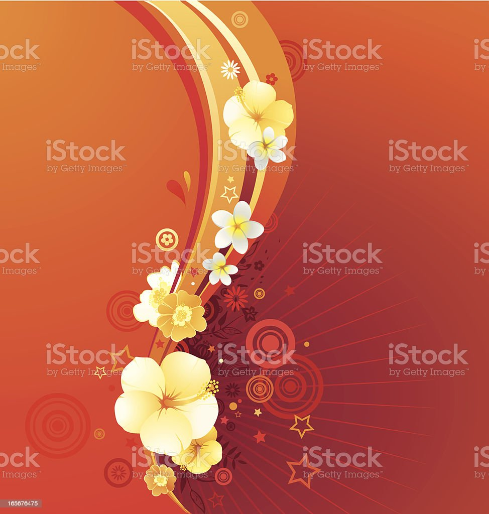 Warm colored swirl design with flowers and stars royalty-free stock vector art