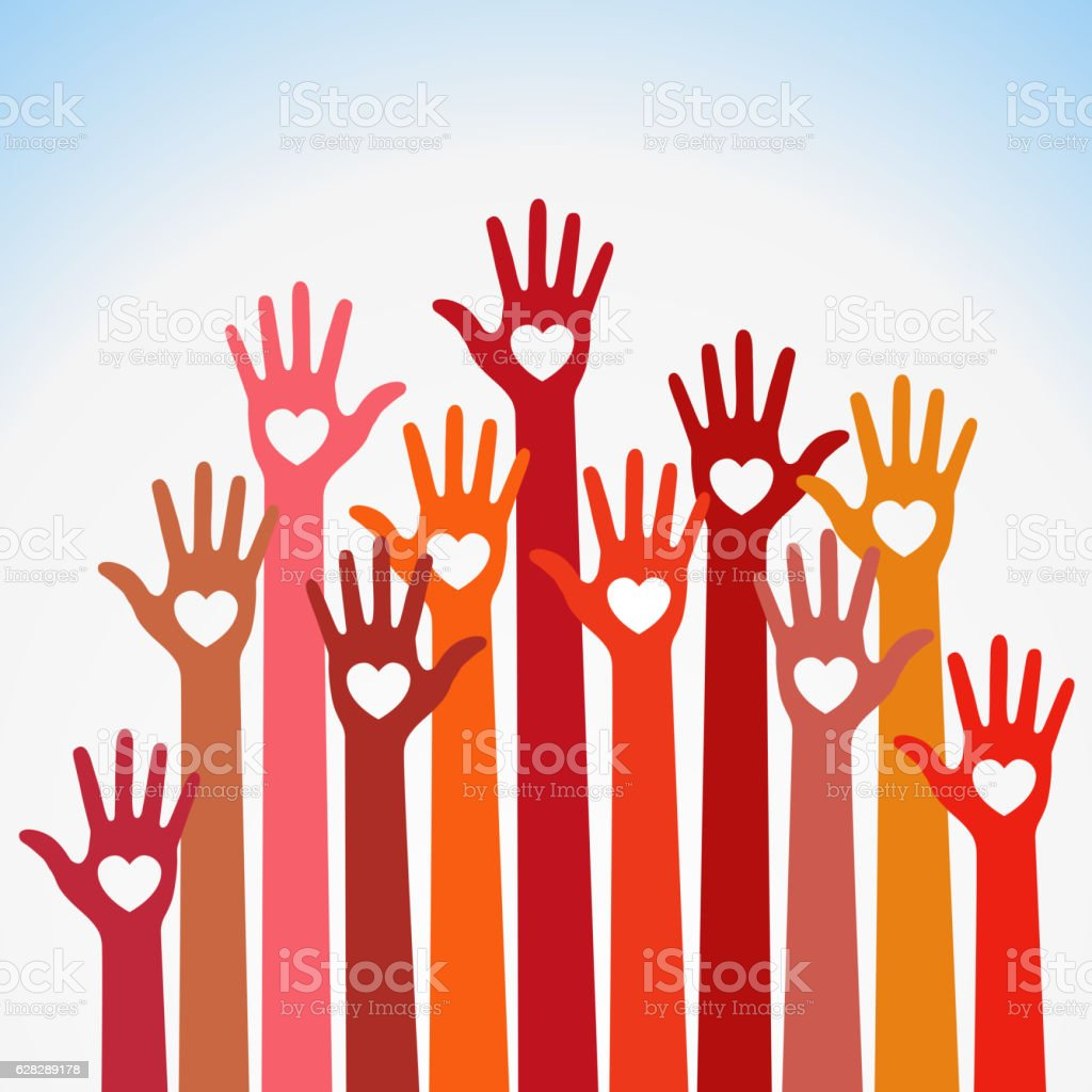 Warm colors colorful caring up hands hearts vector Volunteers lillustration vector art illustration