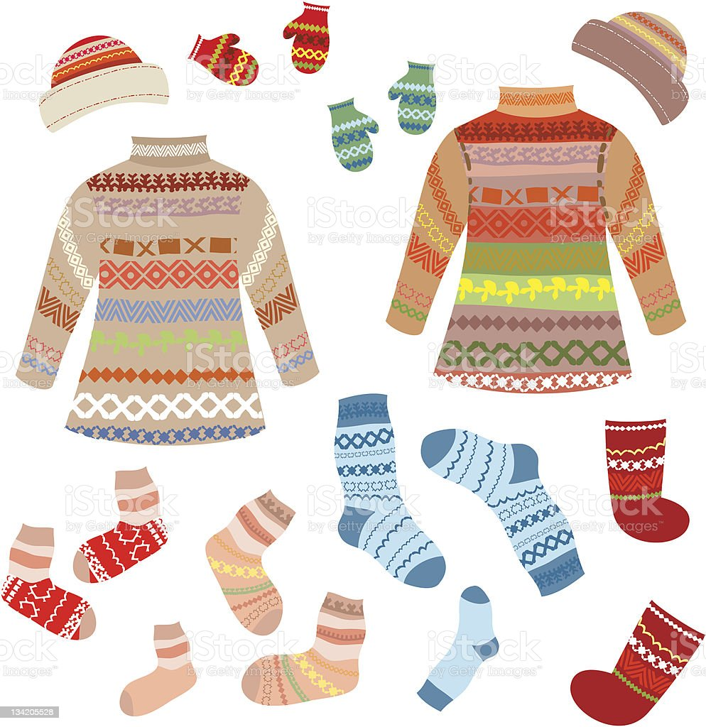 Warm knitting patterns with royalty-free stock vector art