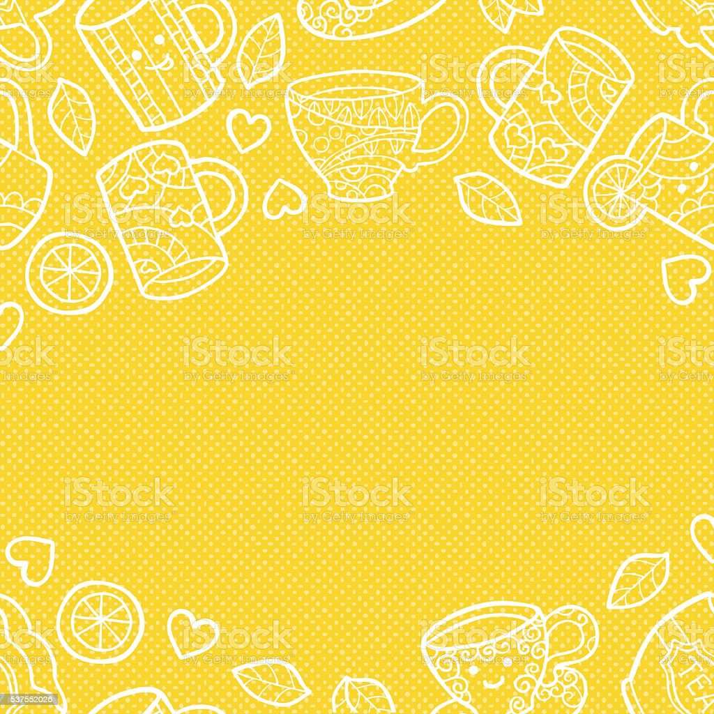 Warm textured background with doodle tea accessories. vector art illustration