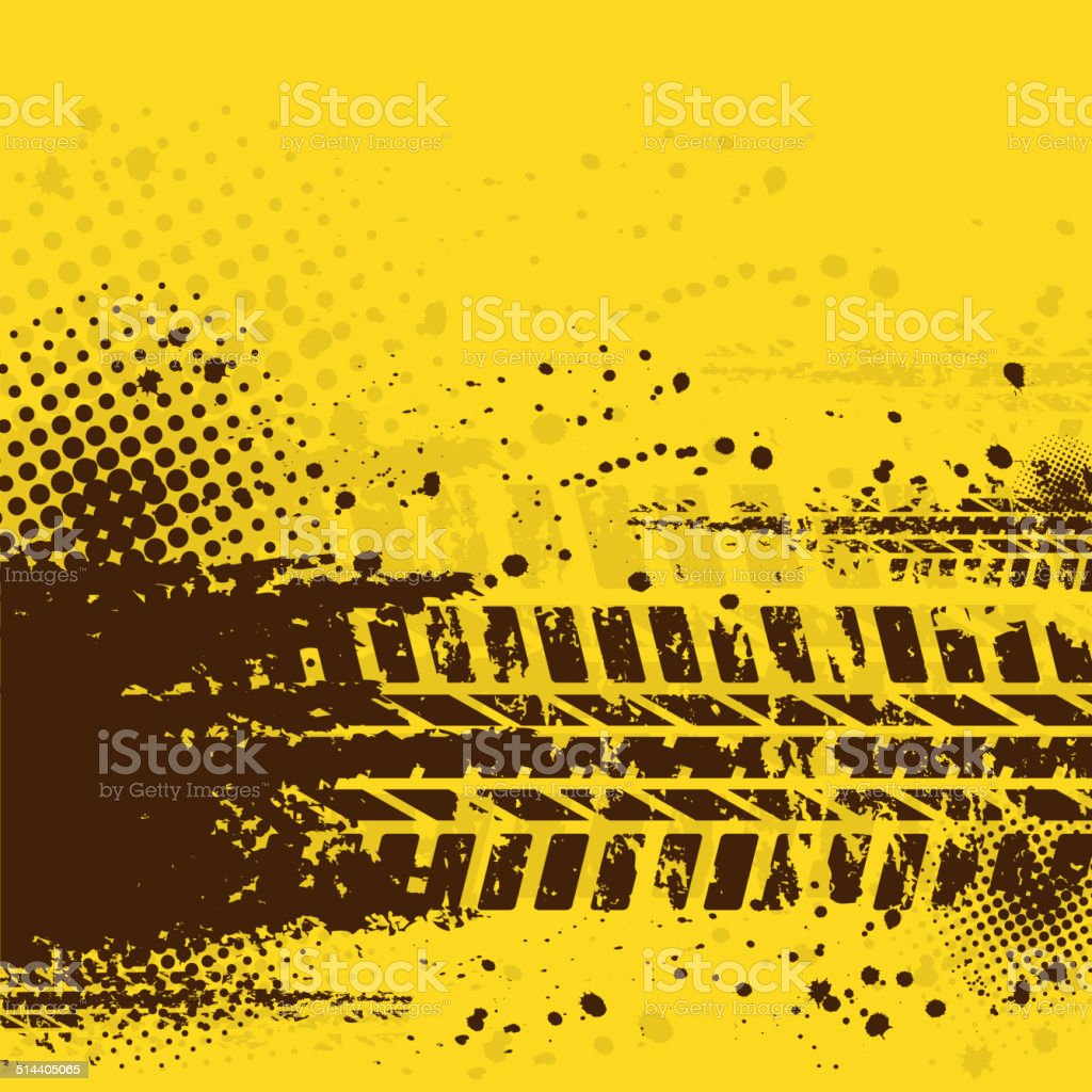 Warm tire track background vector art illustration